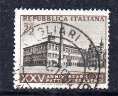 XP2507 - REPUBBLICA 1954 , 25 Lire N. 733 Usato. Patti Lateranensi .Filigrana Lettere - 6. 1946-.. Repubblica