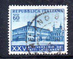 XP2498 - REPUBBLICA 1954 , 60 Lire N. 734 Usato. Patti Lateranensi .Filigrana Lettere - 6. 1946-.. Repubblica