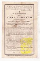DP Anna Verzyck ° Ruddervoorde Oostkamp 1831 † Zedelgem 1897 X Ferd. VanPaemel / Versick Versyck Versijck Verzick - Images Religieuses