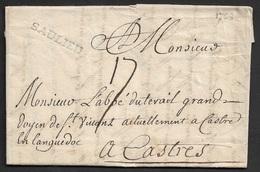 1768 - LAC - SAULIEU 27mm X 4mm - A Monsieur L'Abbé Duterail A Castres - Poststempel (Briefe)