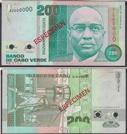 Cape Verde 200 Escudos 1989 AUNC Specimen - Cabo Verde