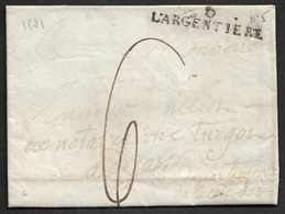 1821 - LAC - 6  L'ARGENTIÈRE 41mm X 9mm ( Ardeche ) - 1701-1800: Précurseurs XVIII