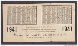 CALENDRIER 1941 IMAGE PIEUSE ÎLES FIDJI SOEURS MARISTES - OEUVRE PONTIFICALE DE LA SAINTE ENFANCE - Calendriers