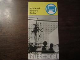 INTERHOTEL BEROLINA BERLIN ANNEE1960 1970 - Tourism Brochures