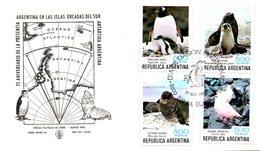 ARGENTINE. Timbres Issu Du BF 26 De 1980 Sur Enveloppe 1er Jour. Pingouin/Phoque/Eléphant De Mer. - Antarctic Wildlife
