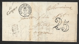 1853 - LAC - Cursive 11 CONQUES ( AVEYRON ) - Utilisation Tardive - Postmark Collection (Covers)