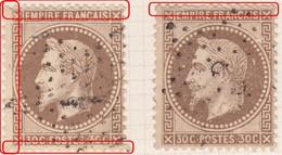 N°30 2 Exemplaires Dont Un Avec Variétés Sur Les Filets, Filets Ouest Absent, TB - 1863-1870 Napoléon III. Laure