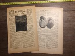 1909 DOCUMENT LA POLOGNE MARTYRE AU XX 20 ° SIECLE - Vieux Papiers