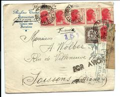 LETTRE Barcelona ESPANA 16/12/1938 Pour La Francia - CACHET CENSURA - 1931-Today: 2nd Rep - ... Juan Carlos I
