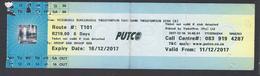 2017 -Ticket Autobus - PUTCO - Pretoria - South Africa  - Used - Abonos