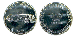 00242 GETTONE TOKEN JETON SHELL AUTOMOBILI SPORTIVE SPORTWAGGEN MG TC MIDGET 1945 CHROME - Allemagne
