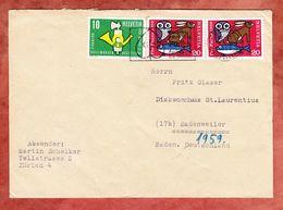 Brief, MiF Eule Hase Fisch U.a., Ruecks Spendenmarken?, MS Gartenbauausstellung Zuerich, Nach Badenweiler 1959 (68665) - Suisse