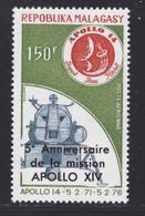 MADAGASCAR AERIENS N°   166 ** MNH Neuf Sans Charnière, TB (D8175) Cosmos, Surcharge Mission Apollo 14 - 1976 - Madagascar (1960-...)