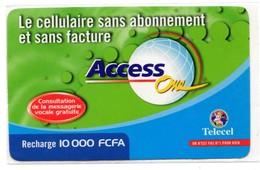 COTE D'IVOIRE Prépayée TELECEL LOTENY TELECOM 10 000 FCFA - Ivoorkust