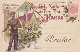 DR Ganzsache Abschiedskarte Der Privat-Post Hansa Postfrisch - Deutschland