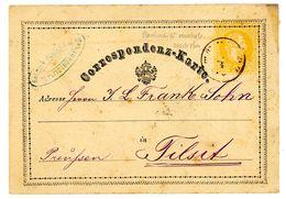 2 Kreuzer Correspondenz-Karte Aus TEPLITZ Böhmen Nach Tilsit - Ganzsachen
