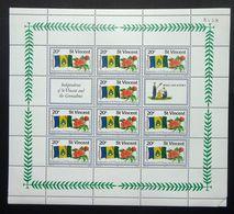 St. Vincent 1979 SG603 20c Independence Of St Vincent & The Grenadines Minisheet With Control Number 8058 MNH. - St.Vincent (1979-...)
