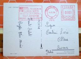 1979 SPAGNA HOTEL FLORIDA NORTE RED MACHINE STAMPS EMA MADRID CARTOLINA - 1931-Today: 2nd Rep - ... Juan Carlos I