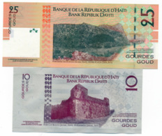 2004 // BANK REPIBLIK DAYITI // Commemorative Bill // Polymer // 10 & 25 Goud // UNC - Haïti