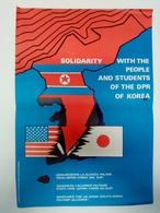 Affiche C. 1980 Solidarité Corée Du Nord Propagande Solidarity North Korea Propaganda - Affiches