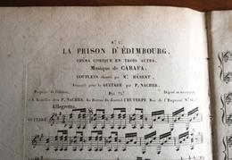 Partition Ancienne Guitare LA PRISON D' EDIMBOURG N°3 Opera Comique CARAFA Mr Hébert - Partitions Musicales Anciennes