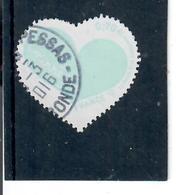 Yt 5027 St Valentin Coeur Courreges Inscription De Couleur Bleu Clair, Cachet Rond - France