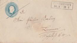 Preussen GS-Umschlag 2 Silbergr. R2 Paderborn 24.3. Gel. Nach Bremen - Preussen