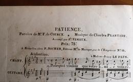 Partition Ancienne Guitare Chant PATIENCE F. De Courcy Charles Plantade Vimeux - Partitions Musicales Anciennes