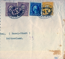 1923 , ESTADOS UNIDOS , SOBRE CIRCULADO , MADISON SQUARE BRANCH - BASILEA , TRÁNSITO , LLEGADA - Vereinigte Staaten
