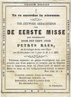 """IEPER - E.H. Petrus RAES - 1870 Eerste Mis In De """"kollegie Kerke Van IJPER"""" - Prachtig Oud Prentje - Imágenes Religiosas"""
