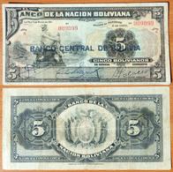 Bolivia 5 Boliviano 1929 Number 009099 - Bolivia