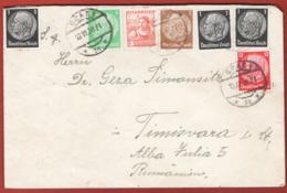 Germania Reich 1938 Mixed Postage Germany/Austria 10/07/39 To Romania VF/F - Germania