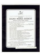 MOORSLEDE / SLIJPSKAPELLE - Overlijdensbericht Zulma DUTHOIT (xCamiel LANNOY) - Overleden 1956 - Images Religieuses
