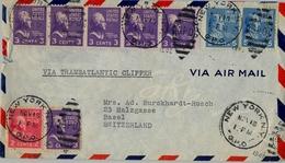 1940 , ESTADOS UNIDOS , SOBRE CIRCULADO VIA TRANSATLANTIC CLIPPER ENTRE NUEVA YORK Y BASILEA, CORREO AÉREO - Estados Unidos