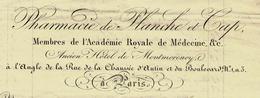 """PARIS 1837 FACTURE COMPLETE ENTETE PHARMACIE De """"Planche Et Cap"""" Ancien Hotel De Montmorency B.E.VOIR SCANS - 1800 – 1899"""