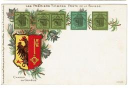 Les Premiers Timbres Poste De La Suisse - Canton De Genève - Menke-Huber - 2 Scans - Timbres (représentations)