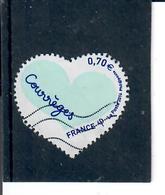 Yt 5028 St Valentin Coeur Courreges Inscription De Couleur Bleu Fonce - France