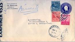 1942 , ESTADOS UNIDOS , SOBRE ENTERO POSTAL CIRCULADO , PASADENA - ZURICH , CORREO AÉREO , CENSURA - Entiers Postaux