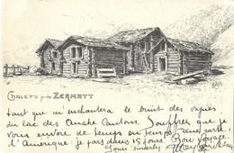 CPA Suisse * Dessin Chalets Près Zermatt Par Metzler * - VS Valais