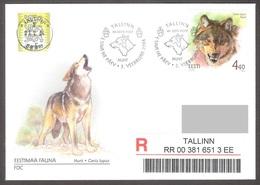 Estonia 2004  Stamp FDC Estonian Fauna The Wolf Mi 479 Gone Post REGISTERED - Estonia