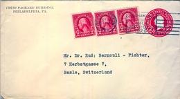 1926 , ESTADOS UNIDOS , SOBRE ENTERO POSTAL  , PHILADELPHIA - BASILEA, SESQUI - CENTENNIAL EXPOSITION PHILA. - 1921-40