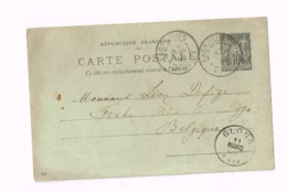 Entier Postal à 10 Centimes.Expédié De Fabrègues (Hérault) à Fexhe-Slins (Glons) Belgique. - Postwaardestukken