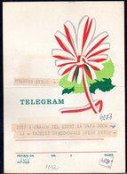 POLAND 1972 TELEGRAM PATRIOTIC POLISH RED WHITE RIBBON FLOWER USED TÉLÉGRAMME TELEGRAMM TELEGRAMA TELEGRAMMA - Faire-part