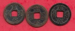 Japon 3 Pièces De 1 Kanei Tsuho Avers Kan Ei Tsu Ho Année 1741 Coulé à Osaka  ( RARE Plus De 250 Ans) Dans L 'état - Japan