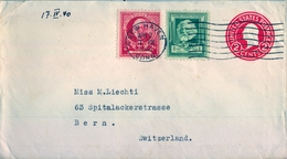 1940 , ESTADOS UNIDOS , SOBRE ENTERO POSTAL  , NEW HAVEN - BERNA - 1921-40
