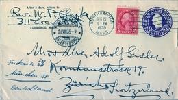 1935 , ESTADOS UNIDOS , SOBRE ENTERO POSTAL  , NORTHAMPTON - ZÜRICH , LLEGADA - 1921-40