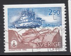 Sweden 1993 Used Scott #2032 2.90k Ship Using Modern Echo Sounding Hydrographic Survey - Suède