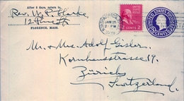 1939 , ESTADOS UNIDOS , SOBRE ENTERO POSTAL  CIRCULADO, NORTHAMPTON - ZÜRICH - 1921-40