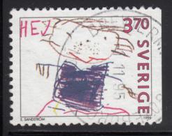 Sweden 1995 Used Scott #2134 3.70k Happy Man By E. Sandstrom Children's Drawings - Suède