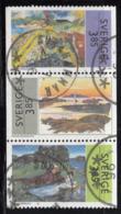 Sweden 1996 Used Scott #2176-#2178 Strip Of 3 3.85k Paintings - Suède